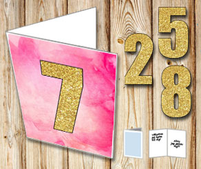 Pink card with watercolor and gold numbers  | Free printable card