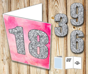 Pink card with watercolor and silver numbers  | Free printable card