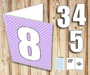 Light purple card with white dots and numbers   | Free printable card