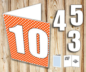 Orange card with white dots	and numbers   | Free printable card