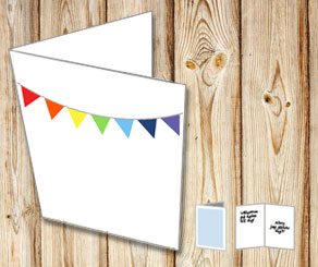 White cards with colorful pennants  | Free printable card