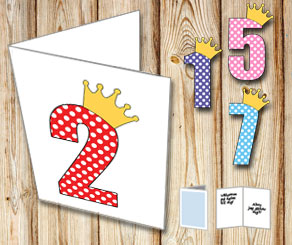 White card with princess numbers   | Free printable card