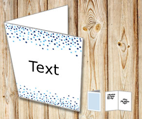 White card with falling dots in blue  | Free printable card