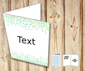 White card with falling dots in blue and turquoise  | Free printable card