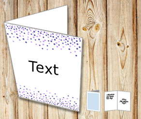 White card with falling dots in purple  | Free printable card