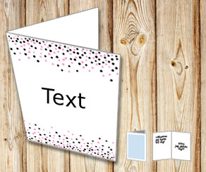 White card with falling dots in black and pink  | Free printable card