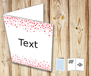 White card with falling dots in red and pink  | Free printable card