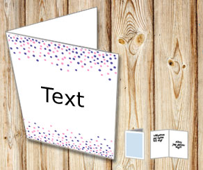 White card with falling dots in pink and purple  | Free printable card