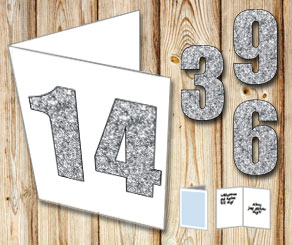 White card with silver numbers  | Free printable card