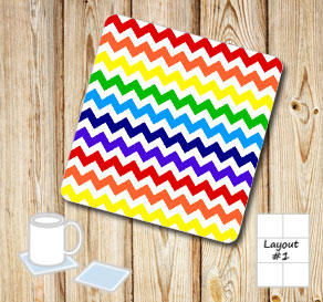 Chevron pattern coasters in rainbow colors  | Free printable coasters