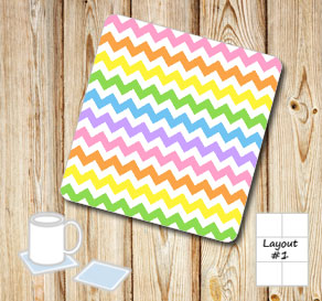 Chevron pattern coasters in light rainbow colors  | Free printable coasters