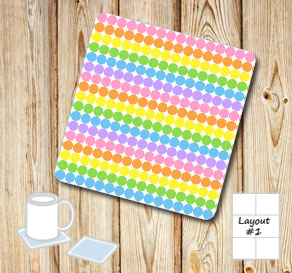 Dotted coasters in light rainbow colors  | Free printable coasters