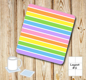 Striped coasters in light rainbow colors  | Free printable coasters