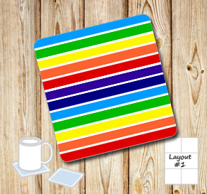 Striped coasters in rainbow colors  | Free printable coasters