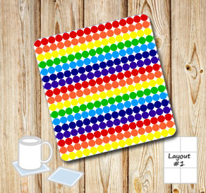 Dotted coasters in rainbow colors  | Free printable coasters