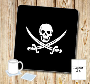 Black coasters with wihte skulls and sabers  | Free printable coasters