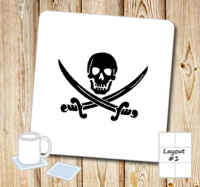 Coasters with black skulls and sabers  | Free printable coasters