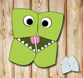 Cootie catcher: Green monster  | Free printable toy