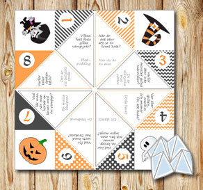 Orange and grey cootie catcher with Halloween riddles  | Free printable for Halloween