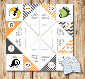 Cootie catcher with Halloween riddles 2  | Free printable for Halloween
