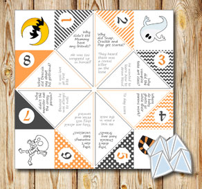Cootie catcher with Halloween riddles 4  | Free printable for Halloween