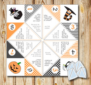 Cootie catcher with Halloween riddles 5  | Free printable for Halloween