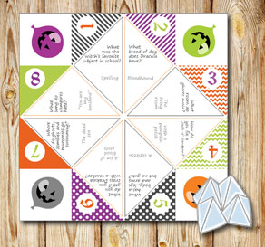 Cootie catcher with Halloween riddles  | Free printable for Halloween