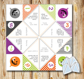 Cootie catcher with Halloween riddles 3  | Free printable for Halloween