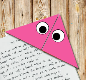Corner bookmark: Pink monster  | Free printable for Halloween