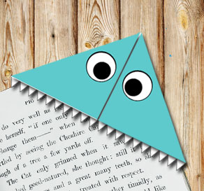 Corner bookmark: Turquoise monster  | Free printable for Halloween