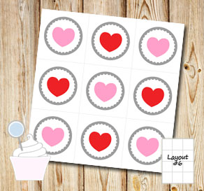 Cupcake toppers with hearts  | Free printable for Valentines day