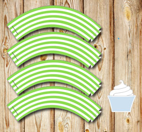 Green and white striped cupcake wrappers 2  | Free printable cupcake wrappers and toppers