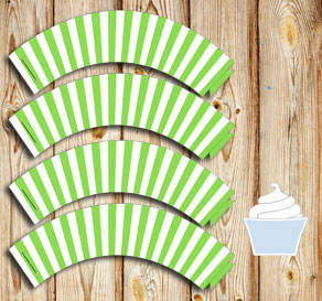 Green and white striped cupcake wrappers  | Free printable cupcake wrappers and toppers