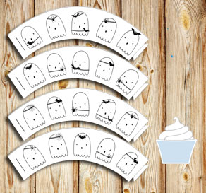 Cupcake wrappers with halloween ghosts  | Free printable for Halloween