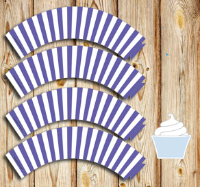 Purple and white striped cupcake wrappers  | Free printable cupcake wrappers and toppers