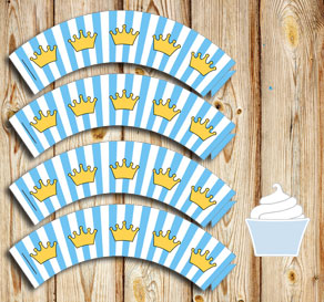 Light blue and white striped cupcake wrappers with ...  | Free printable cupcake wrappers and toppers