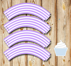 Light purple and white striped cupcake wrappers 2  | Free printable cupcake wrappers and toppers
