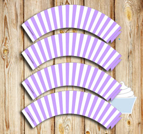 Light purple and white striped cupcake wrappers  | Free printable cupcake wrappers and toppers