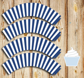 Dark blue and white striped cupcake wrappers  | Free printable cupcake wrappers and toppers