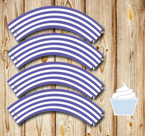Purple and white striped cupcake wrappers 2  | Free printable cupcake wrappers and toppers
