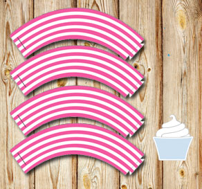 Pink and white striped cupcake wrappers 2  | Free printable cupcake wrappers and toppers