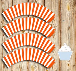 Orange and white striped cupcake wrappers  | Free printable cupcake wrappers and toppers