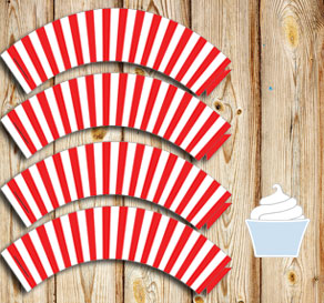 Red and white striped cupcake wrappers  | Free printable cupcake wrappers and toppers