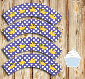 Purple cupcake wrapper with white dots and crowns  | Free printable cupcake wrappers and toppers