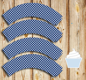 Dark blue cupcake wrapper with white dots  | Free printable cupcake wrappers and toppers