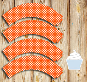 Orange cupcake wrapper with white dots  | Free printable cupcake wrappers and toppers