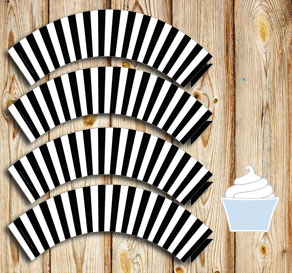 Black and white striped cupcake wrappers  | Free printable cupcake wrappers and toppers