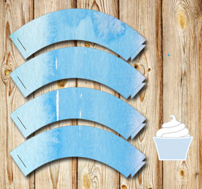 Cupcake wrapper with blue watercolor  | Free printable cupcake wrappers and toppers