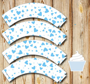White cupcake wrappers with light blue hearts  | Free printable for Valentines day