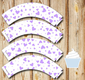 White cupcake wrappers with light purple hearts  | Free printable for Valentines day